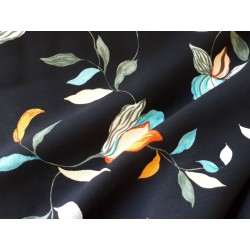 Floral Viscose Challis-Black