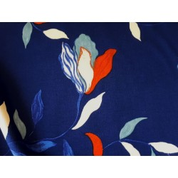 Floral Viscose Challis-Blue