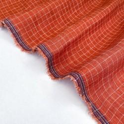 Yarn Dyed Check Linen-Papaya